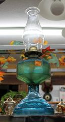 Blue Green Oil Lamp