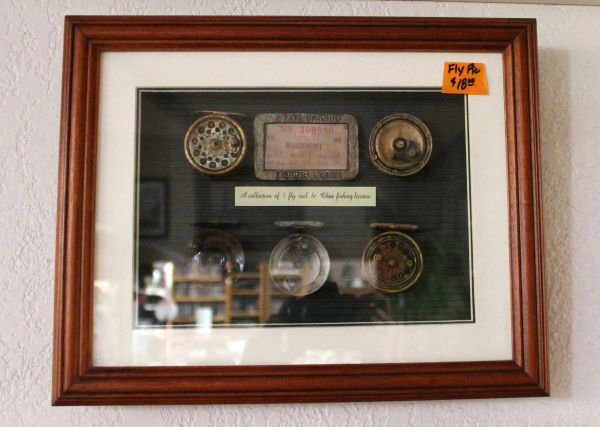 Collection of 5 Fly Reels and Ohio Fishing License