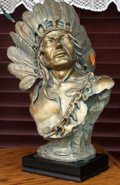 Ceramic Native Statue w/ War Bonnet