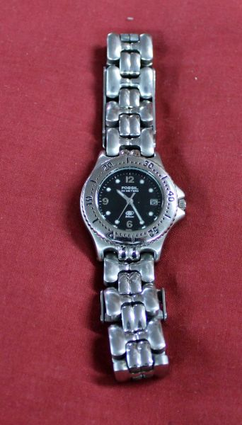 Fossil Silver Water Resistant Watch w/ Timer Bezel