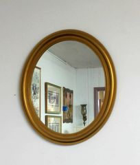 Oval Mirror w/ Gold Frame
