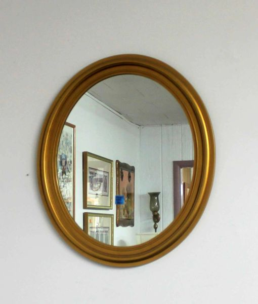 Oval Mirror w/ Gold Frame