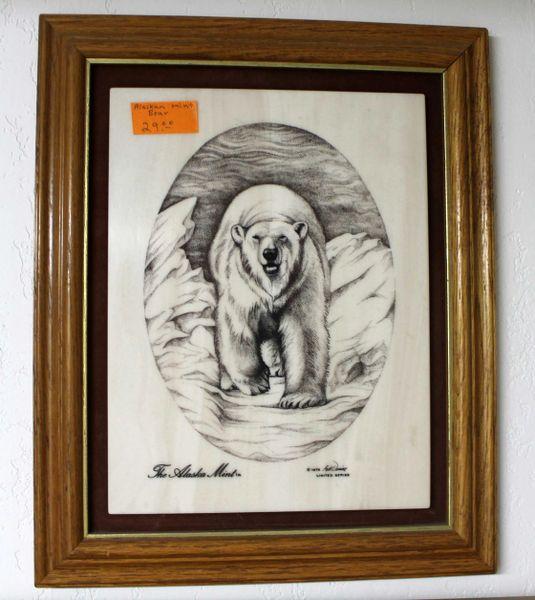 Alaska Mint Polar Bear Framed Stone Etching