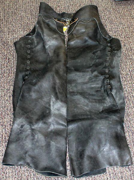 Black Leather Biker Chaps