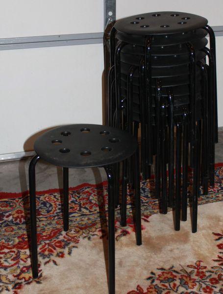 IKEA Black Plastic & Metal MARIUS STOOLS