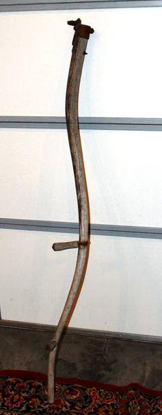 Antique Primitive WOOD SCYTHE HANDLE w/Original Grips NO BLADE
