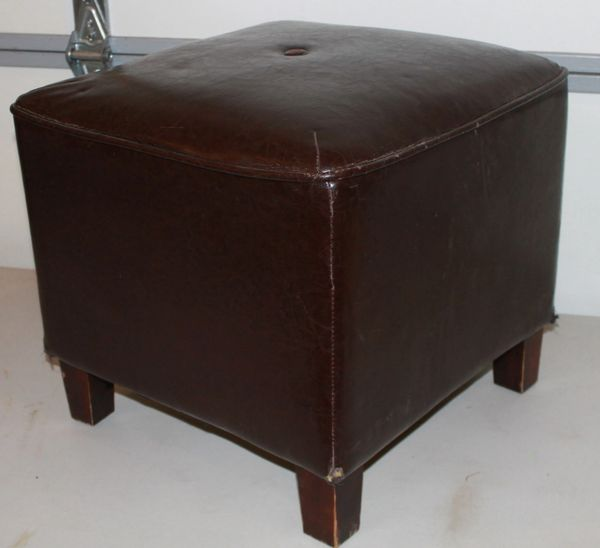 Leather & Wood Feet FOOTREST Hassock
