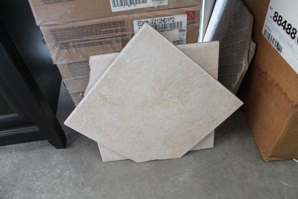 5 Boxes NEW UNUSED 12 x 12 Square Floor Tiles Biege