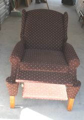 Brown Wing Back Recliner w/ Wood Legs