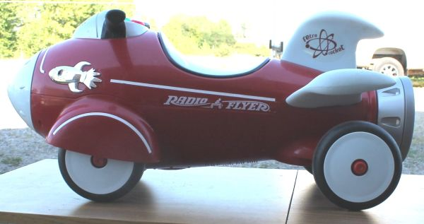 Radio Flyer Retro Rocket Ride On Kids Toy Car With Space Lights & Sounds