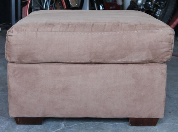 Brown Micro Suede Ottoman/Footstool