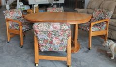 Oak Dining Set-Table and 4 Chairs on Wheels