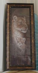 Lioness and Cub Framed Painting by Ruane Manning