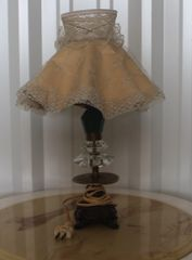 Antique Brass and Glass Lamp w/ Shade