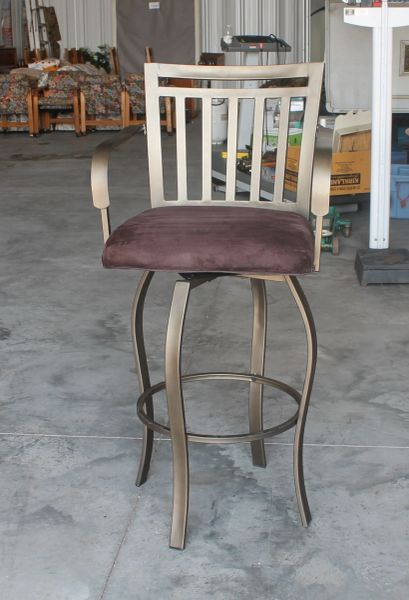 Metal and Brown Micro Suede Pad Bar Stool