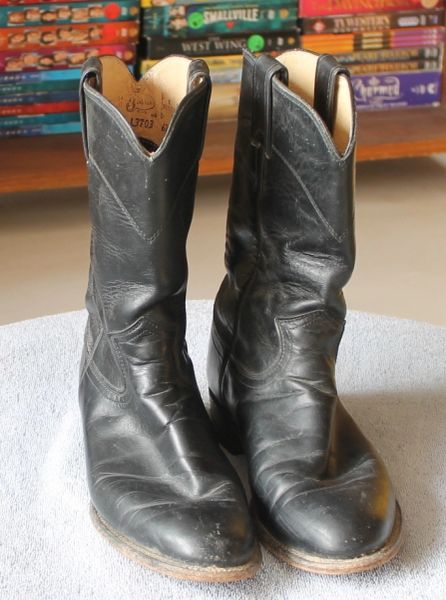 Justin Black Low Heel Western Boot-7B