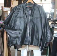Heavy Genuine Leather Black Biker Jacket w/ Thinsulate-48