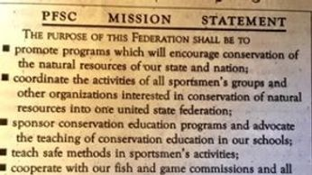 PFSC, Mission, Statement, education, Pa Federation Sportsmen Conservationists, natural resources