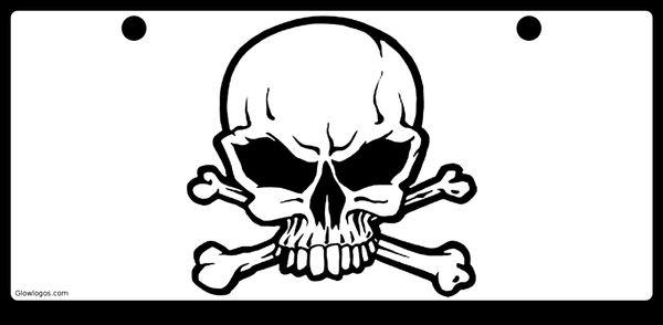 Skull Black on White