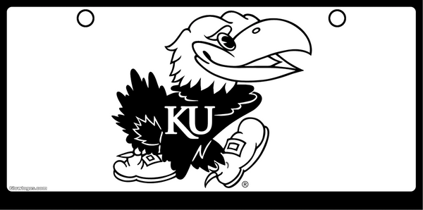 University of Kansas Jayhawk Black on White Background