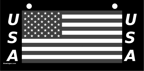 USA Flag Gray scale on black with USA