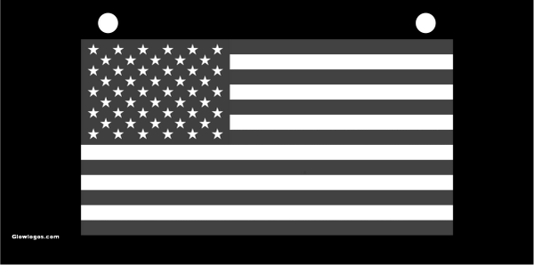 USA Flag Gray scale on black
