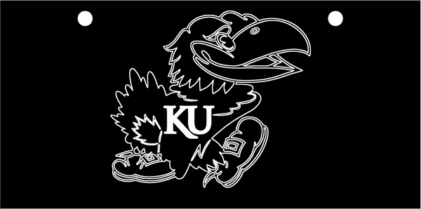 University of Kansas Jayhawk White on Black Background