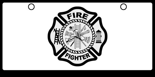 Fire Fighter Maltese Cross Black on White