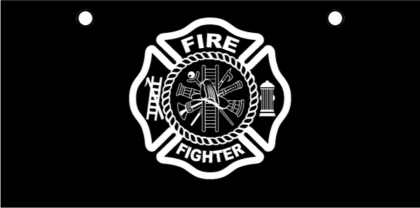 Fire Fighter Maltese Cross White on Black