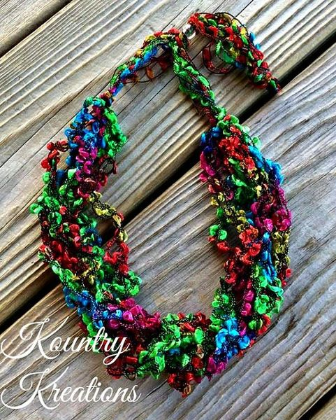Hidden Treasure Crochet Necklace Green Blue Red And