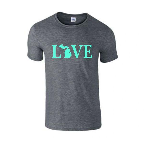 Love Text Michigan T-Shirt - Love Text Michigan - Michigan Shirt - Love Michigan - Michigan Pride - MADE IN THE USA!
