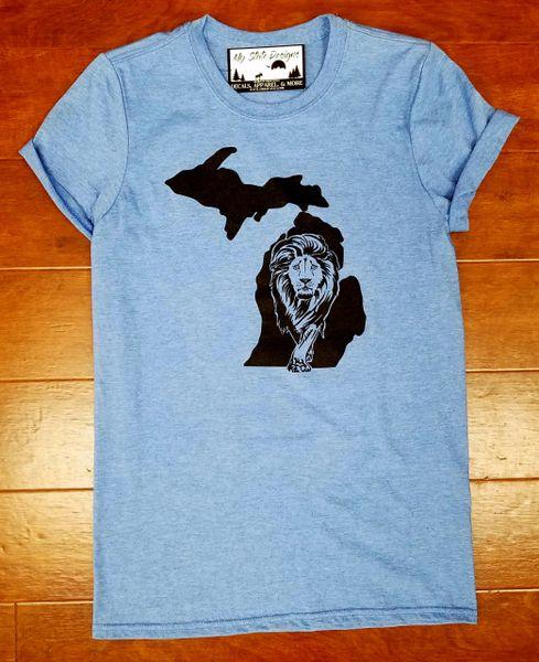 Michigan Lion T-Shirt - Lion Shirt - Michigan Shirt - Michigan Lions - Michigan Pride - Support the Lions - MADE IN MICHIGAN!