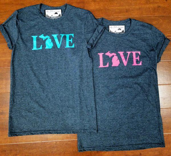 Love Text Michigan T-Shirt - Love Text Michigan - Michigan Shirt - Love Michigan - Michigan Pride - MADE IN MICHIGAN!