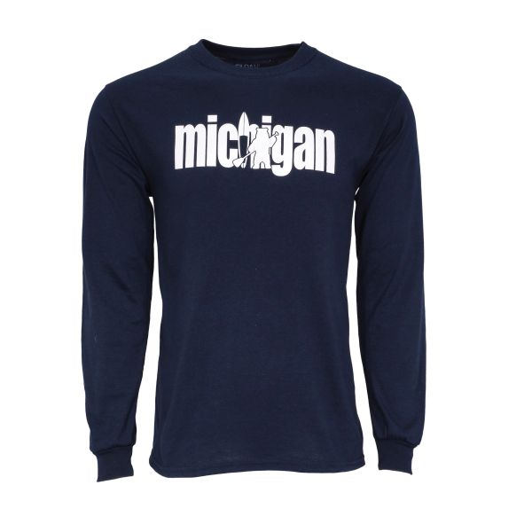 Michigan Paddle Bear Long Sleeve- Michigan Long Sleeve Shirt-Michigan- Made in Michigan