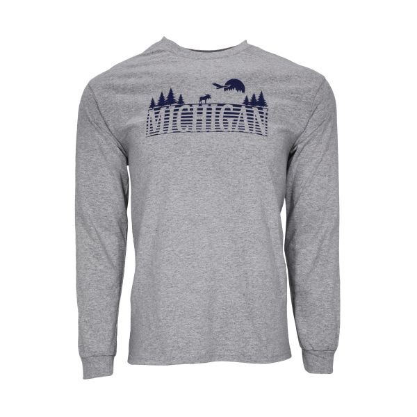 Michigan Text Outdoors Long Sleeve- Michigan- Up North- Michigan outdoors- Michigan Up North- Northern Michigan- Made in Michigan