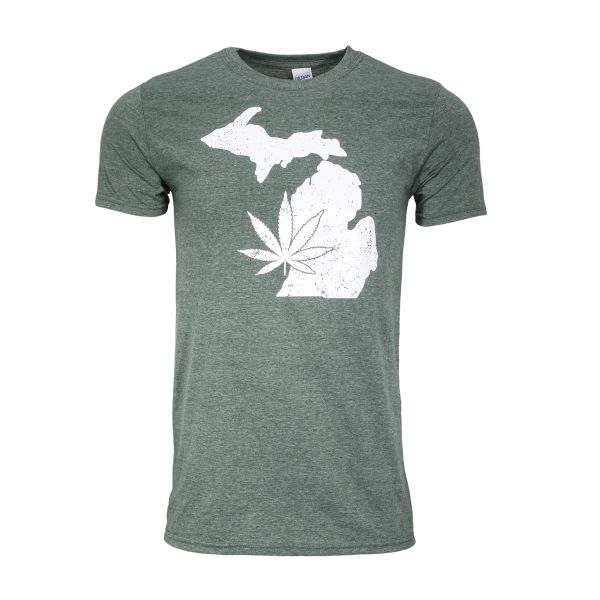 Michigan Marijuana T-Shirt - Green- Marijuana- Pot Shirt- Weed Shirt- Michigan Made