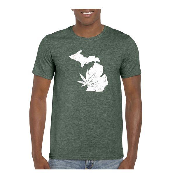 Michigan Marijuana T-Shirt - Green- Marijuana- Pot Shirt- Weed Shirt- Michigan Made