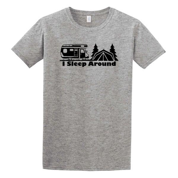 I Sleep Around T-Shirt - Camping Shirt - Michigan Camping - Michigan Outdoors - Michigan Wilderness - MADE IN MICHIGAN!