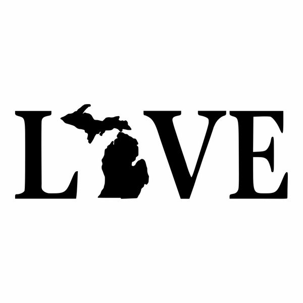 Love Text Michigan Vinyl Car Decal