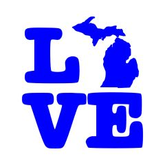 Love Michigan Map Vinyl Car Decal