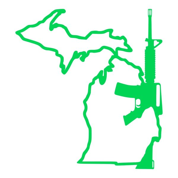 Michigan Gun AR-15 Vinyl Car Decal