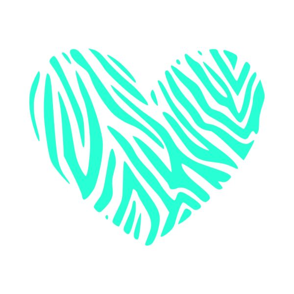 Zebra Heart Vinyl Car Decal