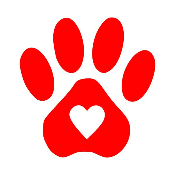 Paw Print Heart Vinyl Car Decal