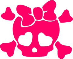 Girly Skull Vinyl Car Decal