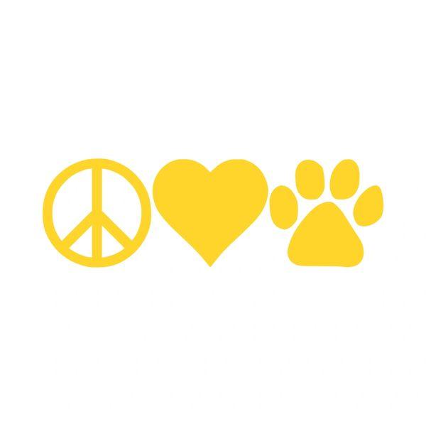 Peace Love Paw Print Vinyl Car Decal