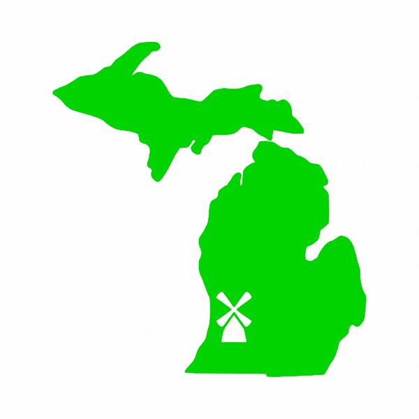 Michigan Map with Windmill Vinyl Car Decal