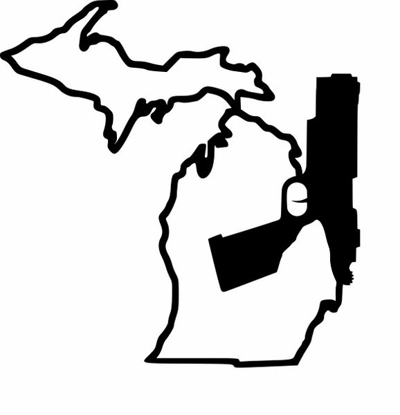 Michigan Gun Solid Pistol Vinyl Car Decal
