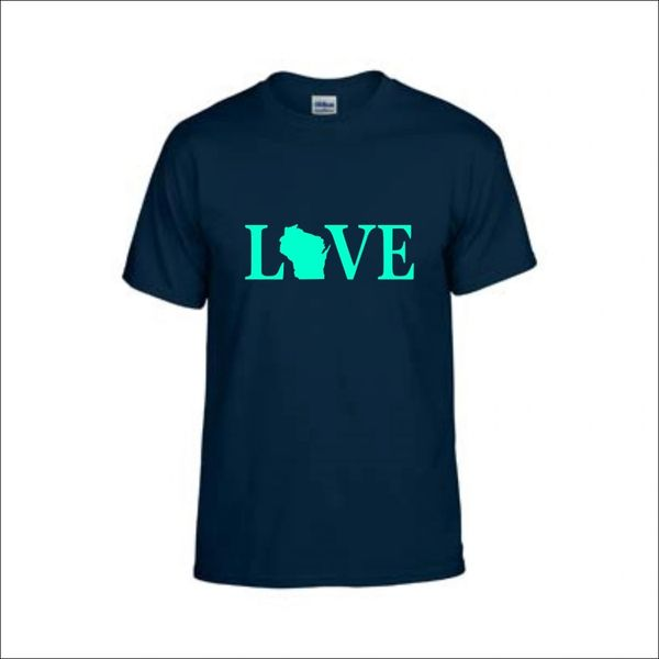 Wisconsin Love Text T-Shirt - Wisconsin Shirt - Wisconsin Pride - MADE IN THE USA!