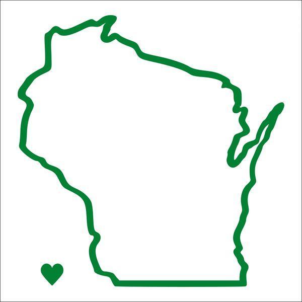 Wisconsin Outline Heart Vinyl Car Decal