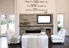 Bless the food before us, the family beside us and the love between us Amen Wall Decal